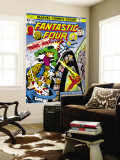 Fantastic Four N167 Cover: Hulk, Thing, Mr. Fantastic, Invisible Woman and Human Torch Fighting Wall Mural by George Perez