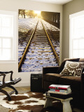 Train Tracks in Snow in Winter Wall Mural by Richard l'Anson