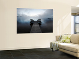 Chairs on Jetty on Mist Shrouded Lake Wall Mural by Denis Corriveau