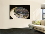 Town Square and Nearby Hills Through Oval Hotel Window Wall Mural by Dennis Johnson