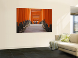 Orange-Red Gates (Tori) Lining Pathways of Fushimi-Inari-Taisha Shrine Wall Mural by Frank Carter