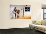 Home-Made Saddle Hanging Outside on Ropes Wall Mural by Douglas Steakley