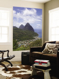 Rooftops of Soufriere and the Pitons Wall Mural by Brent Winebrenner