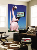 Pink Dinosuar Greeting Visitors Wall Mural by Wade Eakle