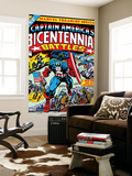 Captain America Bicentennial Battles Cover: Captain America Charging Wall Mural by Jack Kirby