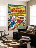 Marvel Comics Retro: The Invincible Iron Man Comic Book Cover No.58, Facing Captain America (aged) Wall Mural