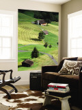 Overhead of Road Through Green Pastures Wall Mural by Bruce Bi