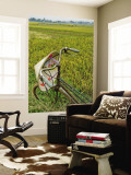 Bicycle and Coolie Hat in Ricefields on Outskirts of Hanoi Wall Mural by Diana Mayfield