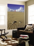 Woman Walking on Sand Dune in Maspalomas Dunes (Dunas De Maspalomas) Wall Mural by Ruth Eastham & Max Paoli