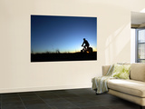 Man Cycle Touring at Dawn Wall Mural by Andrew Bain