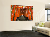 Traditional Torii with Inscriptions at Fushimi Inari Shrine Wall Mural by Christopher Groenhout