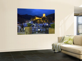 Tourist Taking Picture from Pintor Zabaleta Balcony of La Yedra Castle Illuminated at Night Wall Mural by Diego Lezama