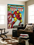 Marvel Comics Retro: The Invincible Iron Man Comic Book Cover 126, Suiting Up for Battle (aged) Wall Mural