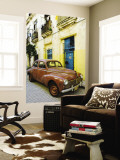 Vintage Car Parked Outside House in Vieja District Wall Mural by Christian Aslund