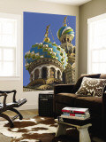 Green, Blue, and White Coloured Domes of Vladimirskaya Church Wall Mural by Tim Makins