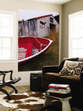 Red Boat Outside Shed with a Stop Whaling Sign Wall Mural by Ralph Hopkins