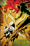 Marvel Comics Retro: X-Men Comic Panel, Phoenix, Emma Frost, Fighting (aged) Wandgemälde