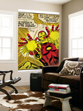 Marvel Comics Retro: The Invincible Iron Man Comic Panel, Fighting and Shooting (aged) Wall Mural
