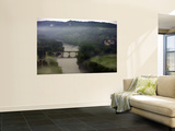 Misty Morning over Dordogne Valley with Chateau of Fayrac on the Right Wall Mural by Barbara Van Zanten