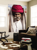 Portrait of Rajasthani Man with Red Turban Wall Mural by April Maciborka
