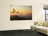 Morning Fog around Skyline with Sihouette of Space Needle and City Buildings Wall Mural by Aaron McCoy