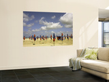 Red and Blue Beach Umbrellas on Deauville Beach Wall Mural by Barbara Van Zanten
