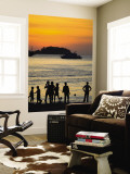 People on Patong Beach Silhouetted at Sunset Wall Mural by Austin Bush
