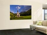 Church Called Rainui in Valley in the Italian Dolomites, Val Di Funes, Italy Wall Mural by Bill Bachmann