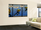 Marvel Comics Retro: Luke Cage, Hero for Hire Comic Panel, Running and Jumping (aged) Wall Mural