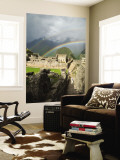 Rainbow over Incan Ruins of Machu Picchu Premium Wall Mural by Emily Riddell