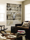 Man Wearing Prayer Shawl (Tallith) Praying at Western Wall Wall Mural by Brian Cruickshank