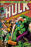 Marvel Comics Retro: The Incredible Hulk Comic Book Cover 181, with Wolverine (aged) Wall Mural