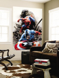 Spectacular Spider-Man No.15 Cover: Captain America and Spider-Man Wall Mural by Steve Epting
