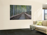 Stairway Through Bamboo Grove Above Adashino Nembutsu-Ji Temple Wall Mural by Brent Winebrenner