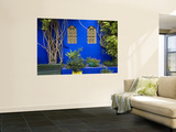 Blue Wall and Window Detail at Jardin Majorelle Wall Mural by Christopher Groenhout