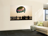 Paragliders on Beach at Sunset Wall Mural by Greg Elms