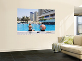 Couple Sitting by a Swimming Pool in the 40 Degree Heat Wall Mural by Christian Aslund