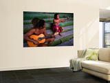 Polynesian Musicians, Tahiti, the Society Islands, French Polynesia Wall Mural by Peter Hendrie