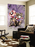 Wolverine Captain America 4 Cover: Wolverine and Captain America Wall Mural by Tom Derenick