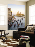 Flotilla of Gondolas Heading Toward Chiesa Di Santa Maria Della Salute in Early Evening Wall Mural by Christopher Groenhout
