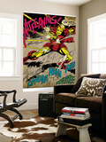 Marvel Comics Retro: The Invincible Iron Man Comic Panel, Fighting and Deflecting (aged) Reproduction murale