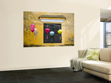 Lanterns Hanging Besides Bright Yellow Wall Wall Mural by Tony Burns