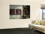 A Bicycle Leans Against the Wall in the Medieval Town of Rothenburg Ob Der Tauber Wall Mural by Bruce Esbin