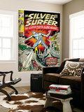 Marvel Comics Retro: Silver Surfer Comic Book Cover No.18, Against the Unbeatable Inhumans! (aged) Wall Mural