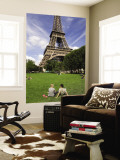 People on Lawn in Front of Eiffel Tower Wall Mural by Will Salter