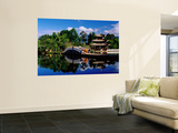 Pagoda and Bridge Refleted in Black Dragon Pool Wall Mural by Richard l'Anson