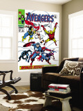 Giant-Size Avengers No.1 Cover: Thor, Iron Man, Captain America and Black Panther Wall Mural by John Buscema