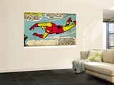 Marvel Comics Retro: The Invincible Iron Man Comic Panel, Flying (aged) Reproduction murale