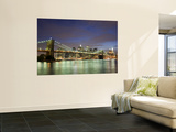 Brooklyn Bridge and Manhattan Skyline at Dusk Wall Mural by Christopher Groenhout