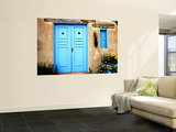 Blue Door on Adobe Building Wall Mural by Ray Laskowitz